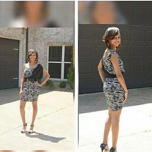 5th Culture Zebra Chiffon Draped Dress w/Belt